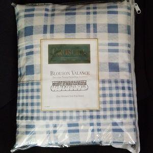 New Blue & White Blouson Valance Farmhouse Style